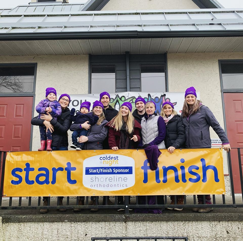 Shoreline Orthodontics finish line sponsor for Coldest Night of the Year